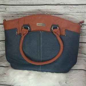 Nine West large 2tone color block shoulder handbag
